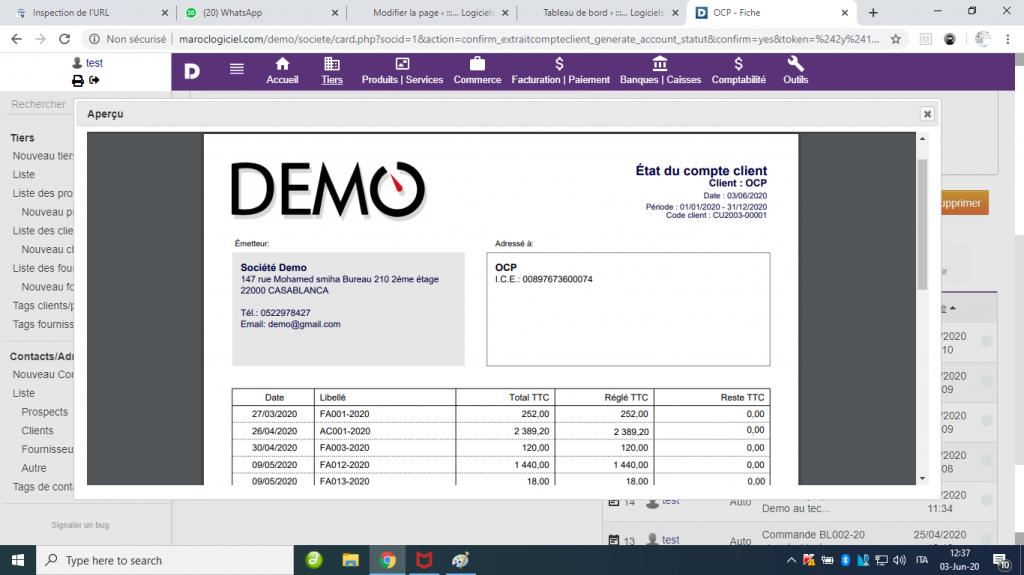 Relevé et solde client dolibarr - Relevès factures clients et fournisseurs dolibarr - Extrait de compte de Client et fournisseurs dolibarr 4